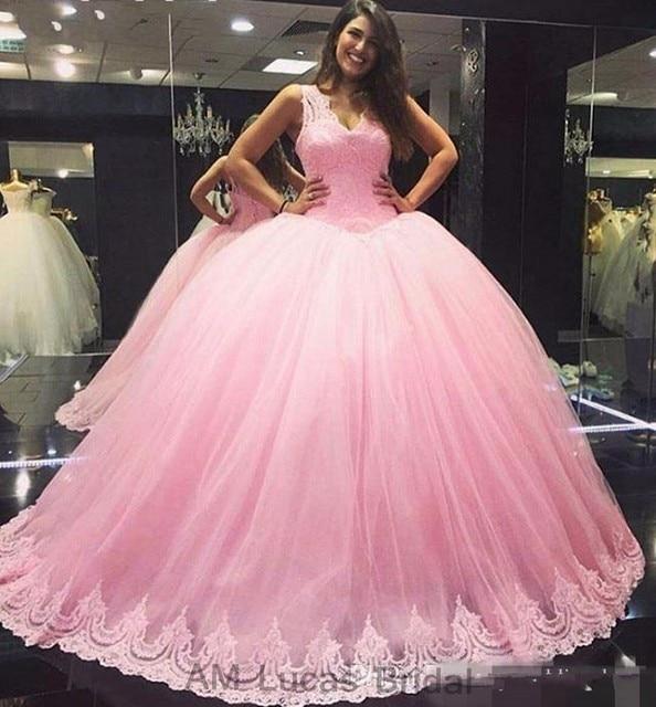 Vintage 2017 de Color Rosa de Tul vestido de Bola Vestidos de Novia ...