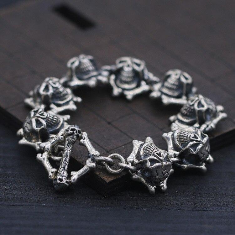 S925 Sterling Silver Bracelet & Bangle Relief Skull OT Button Silver Bracelet 20mm Indian Style Men's Punk Biker