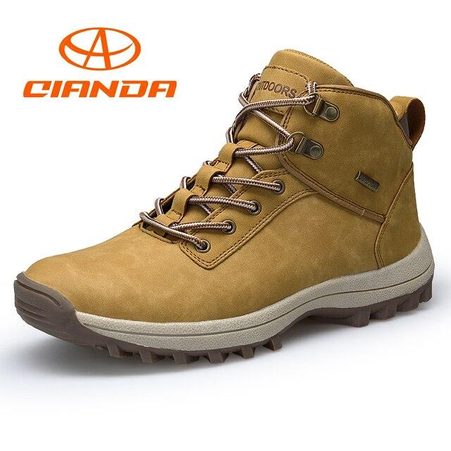 feb5510b5ba622 QIANDA Profession Hommes Montagne Randonnée Chaussures D'hiver Escalade  Dentelle-up Cuir Imperméable En