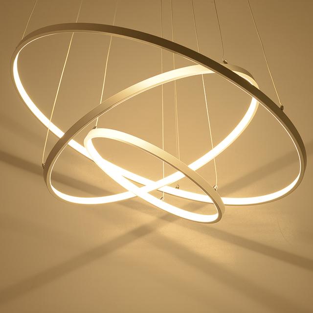 Modernas luzes do pendente para sala de estar da sala de jantar 3/2/1 anéis círculo acrílico corpo de alumínio led de iluminação dispositivos elétricos da lâmpada do teto