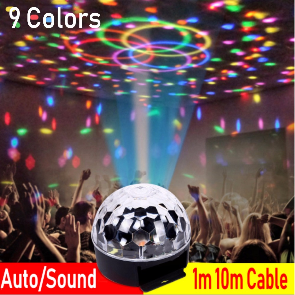 1m 10m Cable 9 Colorful AUTO/Sound RGB Effect Light Crystal Magic Ball Led Stage Lamp Disco Laser Light Party Lights KTV Light