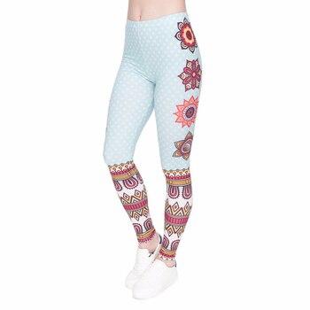 ผู้หญิง Legging Mandala และจุดสีขาวพิมพ์กางเกงแฟชั่น Slim สูงเอวกางเกงขายาวผู้หญิงออกกำลังกายกางเกง