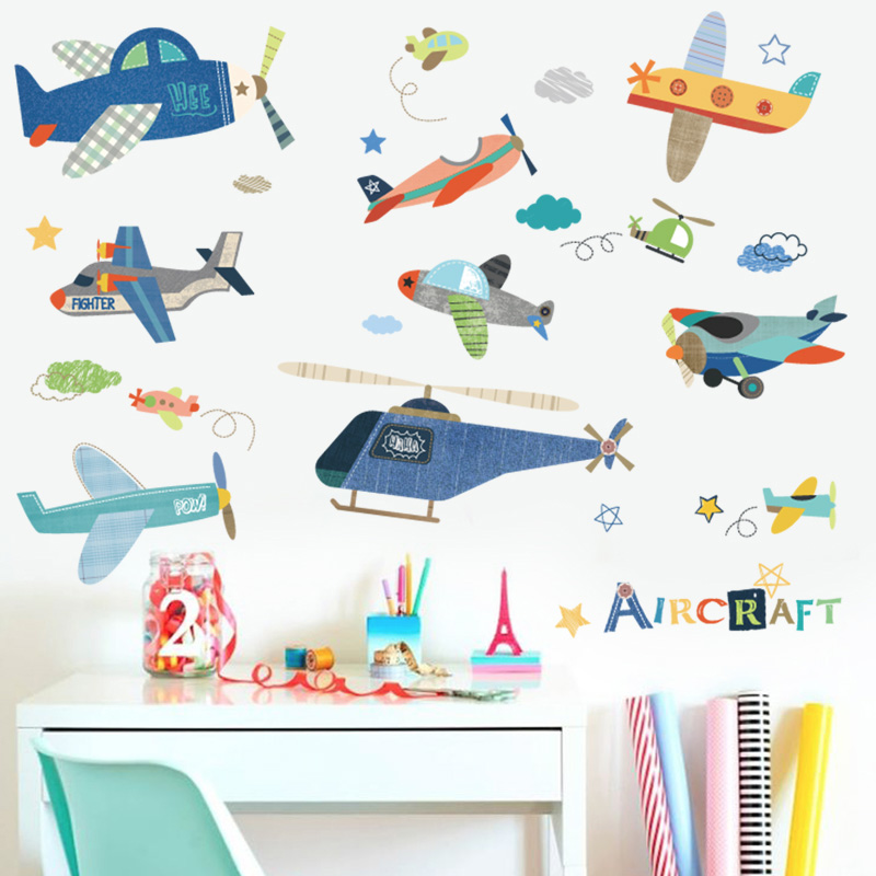 Cartoon Airplane Wall Sticker For Kids Rooms Children 's Room Wall Decals Mural DIY Baby Room Decor Kids Room Decoration image