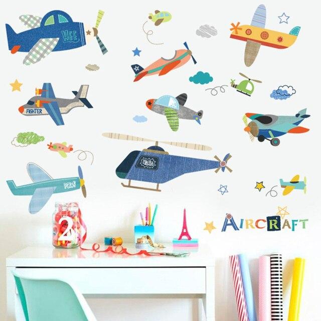 Cartoon samolot naklejki ścienne dla dzieci pokoje dla dzieci naklejki ścienne do pokoju Mural DIY dla dzieci wystrój pokoju dla dzieci dla dzieci dekoracja pokoju dla dzieci