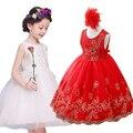 La entrega libre de La Princesa Vestido de la Muchacha de 2017 Bebés de la manera Lentejuelas Encaje de Flores de Tul Vestido de Fiesta Vestido Formal de La Boda Vestidos de los niños