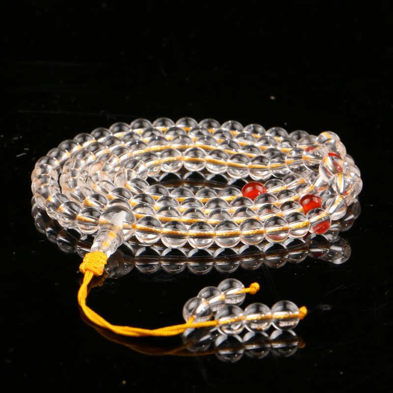 BRO899 High Quality Natural Clear Crystal Quartz Yoga Meditation Mala 8mm 108 beads Strand