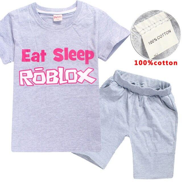 f307757d new eat sleep roblox T-Shirt + Shorts Children's Sets Kids Clothing Sets T  Shirt Short Boys Kids Sports Set Cotton girl dress