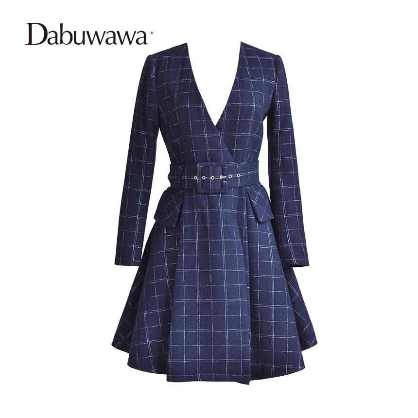 Dabuwawa Dark Blue Winter V Neck Plaid Cotton Coat Casual A Line Padded Coat With Belt Parkas Female napapijri guji check dark blue