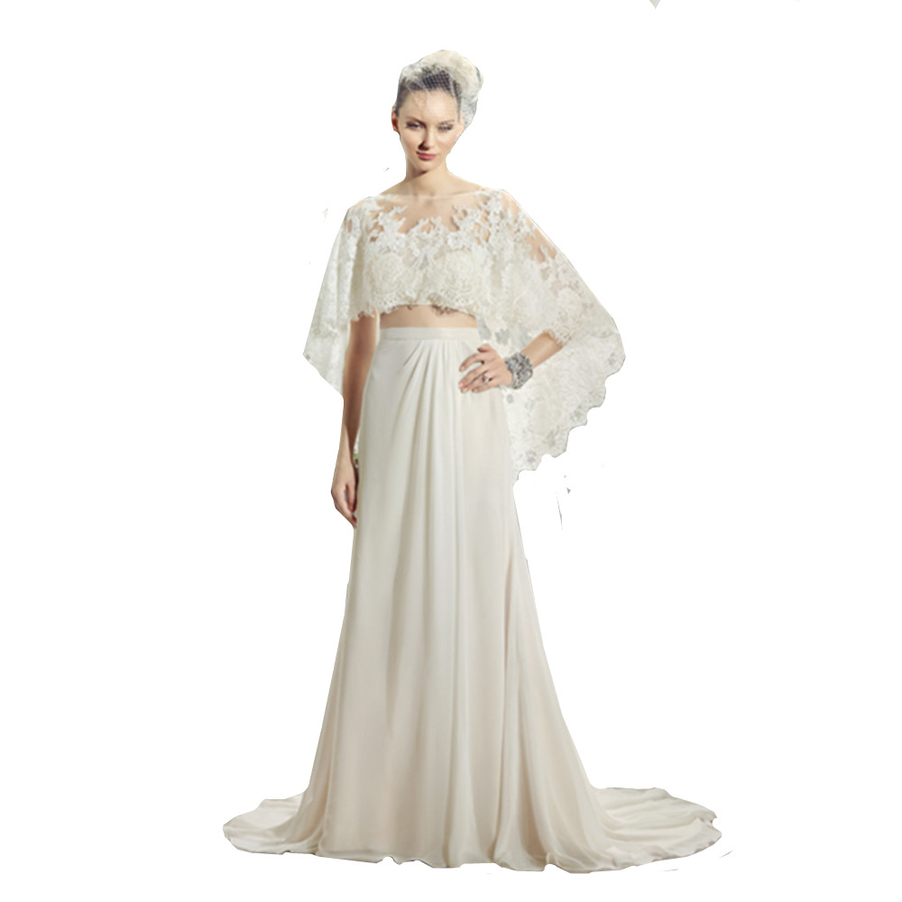 Chiffon crop top wedding dress with lace cape shawl short for Crop top wedding dress