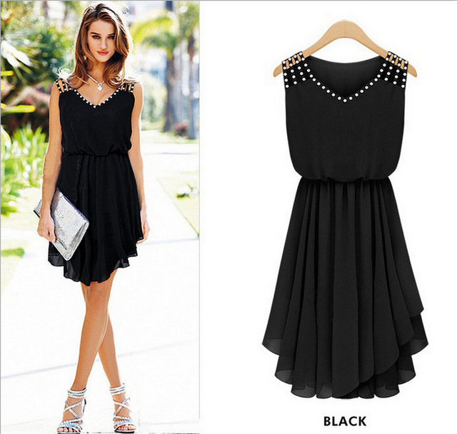 Free Shipping Summer Dress 2017 Vestidos Chiffon V Neck Knee Length Casual Pleated Sexy Party Dresses Plus Size Black and Blue