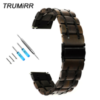 Natural Wood & Stainless Steel Watchband for Fossil Q Founder Wander Crewmaster Grant Marshal Explorist Watch Band Screw Strap