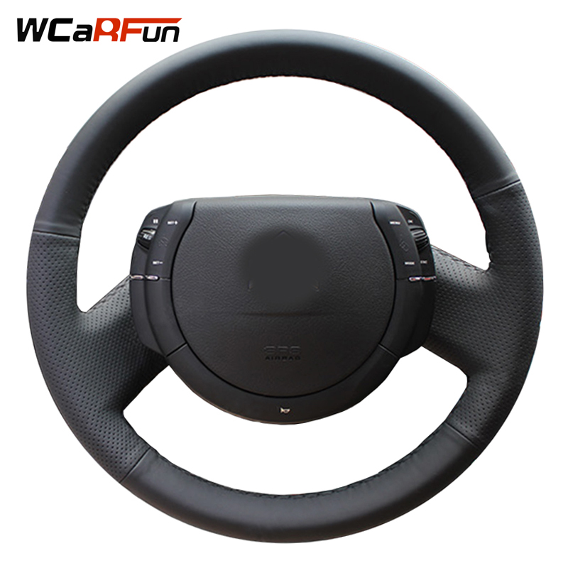 WCaRFun Black Artificial Leather Hand-Stitched Steering Wheel Cover For Steering-Wheel for Citroen Triumph Old C4 C-quatre
