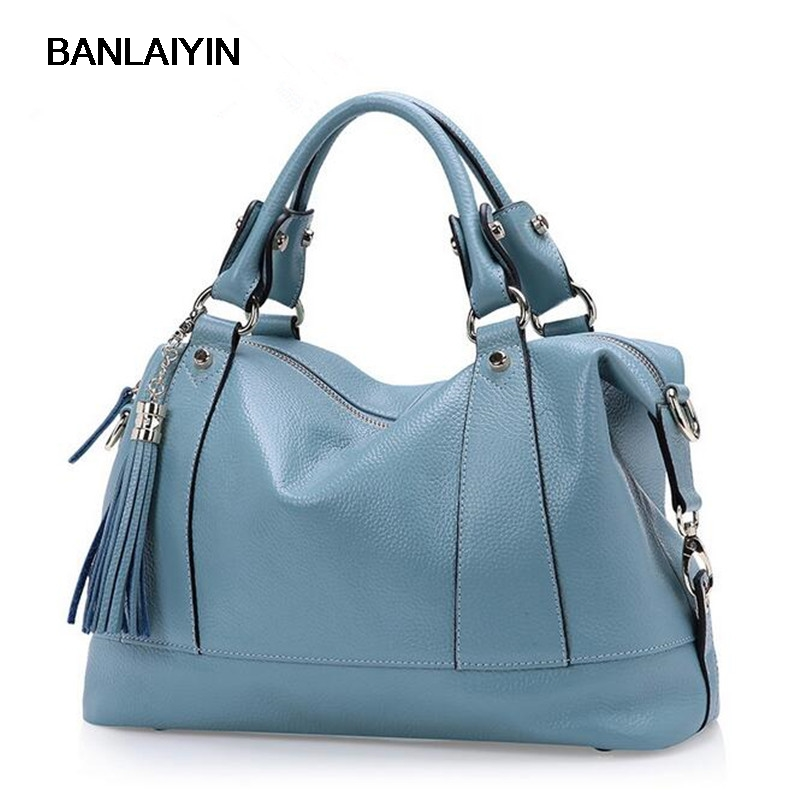Ladies Handbag New Fashion Designer Tassel Women Genuine Leather Handbags High Quality Cowhide Shoulder Bags Tote Messenger Bag 2015 new fashion style genuine leather business women messenger bags causal ladies handbags with high quality shoulder bag