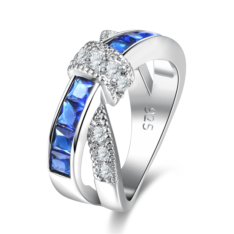 Luxury Silver Color Endless Beauty Twisting Wave Blue Cubic Zircon Finger Ring for Women Engagement Jewelry Gift 0G000695YTYC