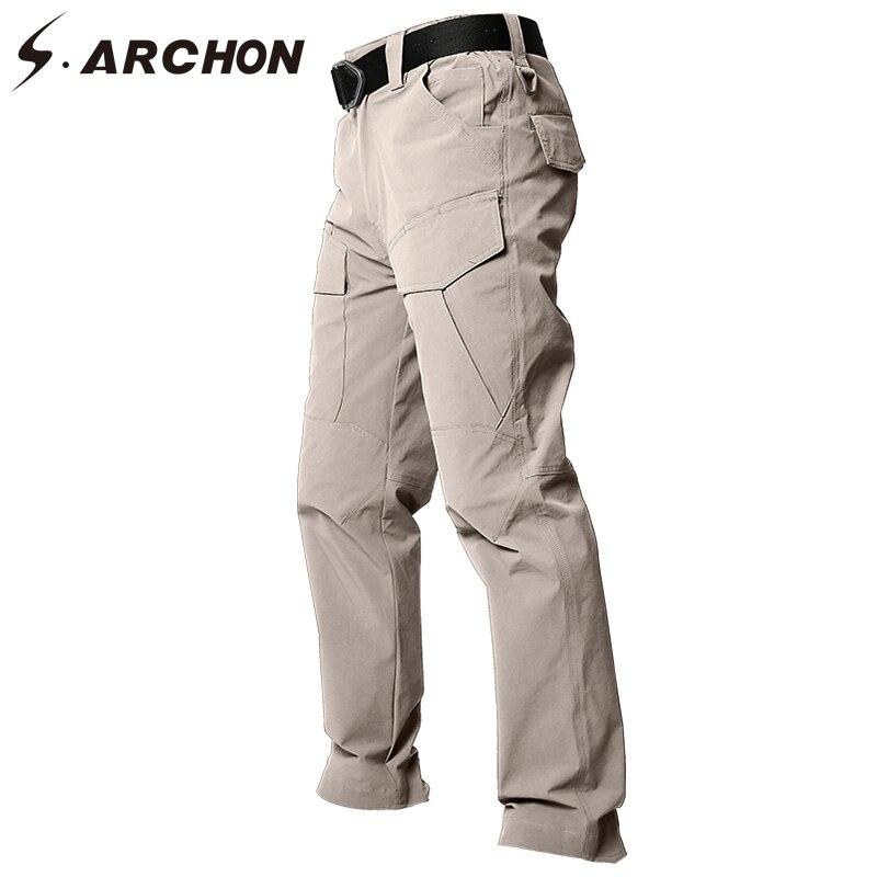 S. ARCHON летние тактические быстросохнущая штаны-карго для мужчин Мульти Карманы Хлопок Военная униформа брюки для девочек Rip stop стрейч дышащ