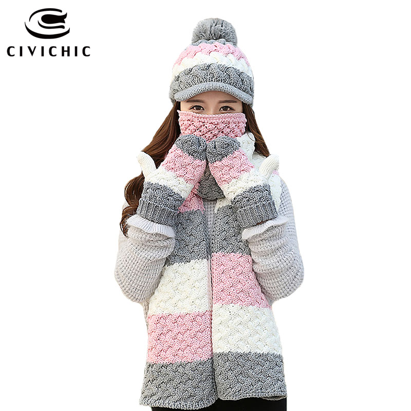CIVICHIC Korean Style Warm Set Lady Crochet Winter Scarf Hat Glove Mask 4 Pcs Cute Pompon Cap Thicken Mittens Stripe Shawl SH188