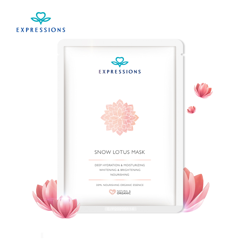 Expressions 100 Face Care Facial Mask Snow Lotus Essence Moisturizing Hydrating Face Mask Makeup Korean Cosmetic