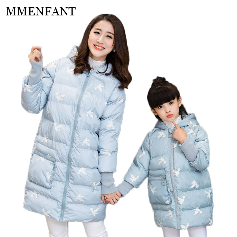 Girls winter coats 2017 new fashion Paper cranes pattern cotton jackets coat for mother and daughter family matching clothes цена и фото