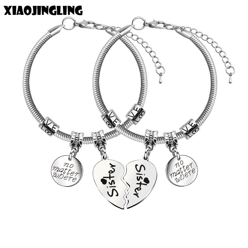 XIAOJINGLING 2pcs Broken Heart Bracelets & Bangles Stainless Steel Pendant  Bracelet no matter where Friendship Sisters Jewelry