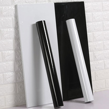 Новинка 120 см в ширину ПВХ Самоклеящиеся обои сплошной цвет глянцевый чистый белый черный наклейки на стену мебель ремонт кухня