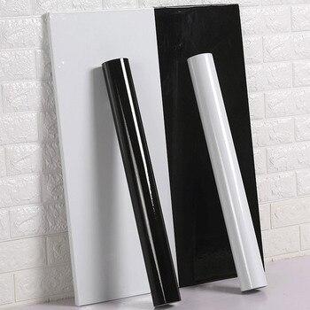 New PVC pure color waterproof wallpaper room self-adhesive black white wardrobe kitchen high gloss paste furniture wall stickers стойка для акустики elac stand ls 50 high gloss white
