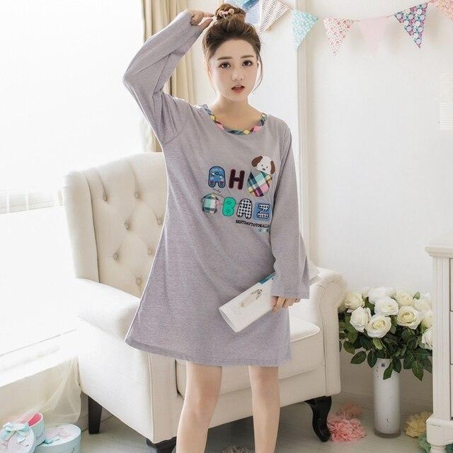 52ded4357a 100% Cotton Nightgowns for Women 2018 Autumn Long Sleeve lingerie dress Cute  Girls Cartoon Night