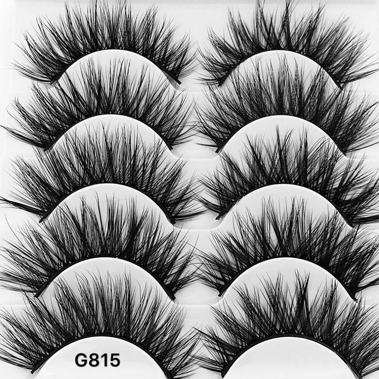 G815 5 Pairs Mink Hair Handmade False Eyelashes Natural Cross Long Fake Eye Lashes Exten ...