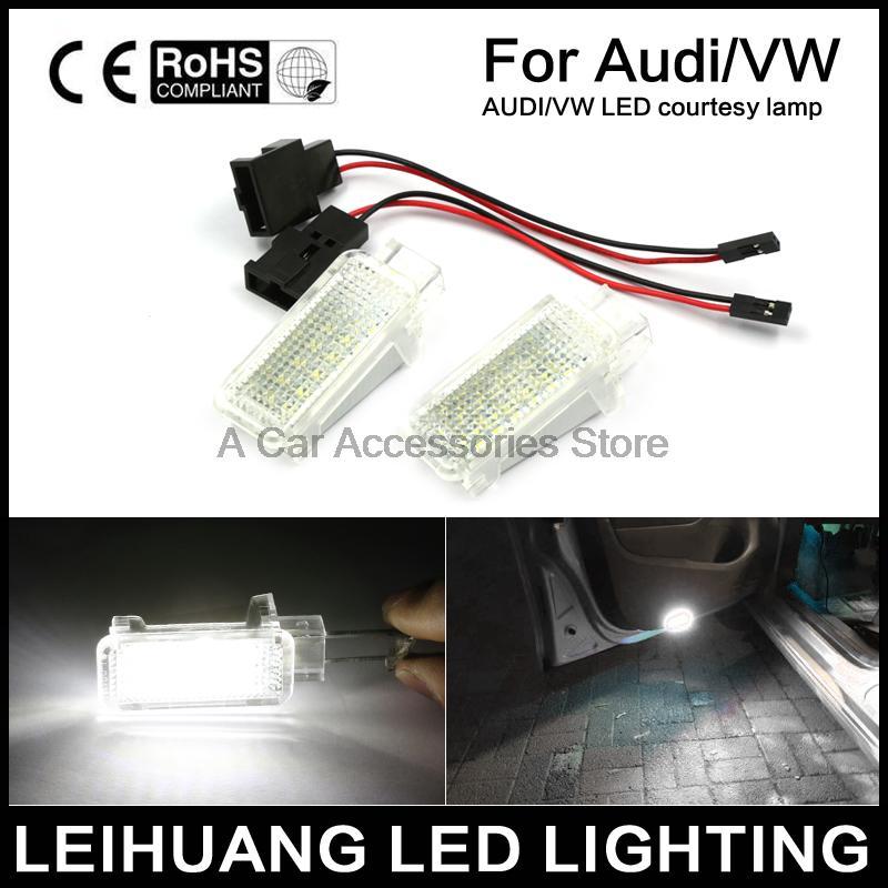 2pcs White CAN-bus LED Door Courtesy Lights Lamps For Audi A3 A4 A5 A6 A7 Q5 Q7 TT