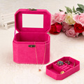 Retro Octagonal Square 2 Layer Boxes Flannel Gift Jewelry Box Display Organizer Carrying Case 4 Colors Fashion Accessories Boxes