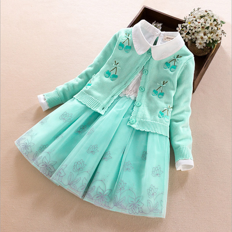Girls Clothing Sets 2017 Autumn Winter Long Sleeve pink/blue/purple Kids Clothing Sets Child Clothes for Girl 4 6 8 9 years old