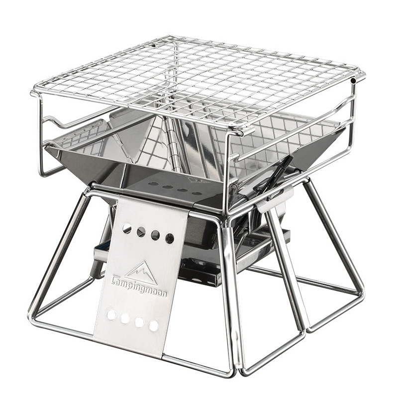 Exquis Portable en acier inoxydable Barbecue Barbecue four ensemble Barbecue Barbecue pour extérieur petit Barbecue en plein air Camping brûleur fête de famille