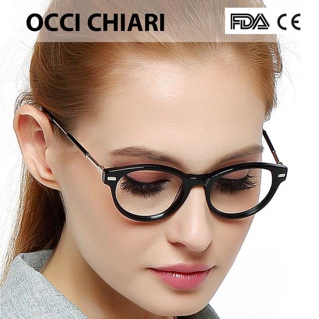 d304bf2a88 OCCI CHIARI Italy Design Classic Fashion Women Girls Eyeglasses Eyewear  Glasses Frame Round Full-rim Black Blue Demi W-CASAL
