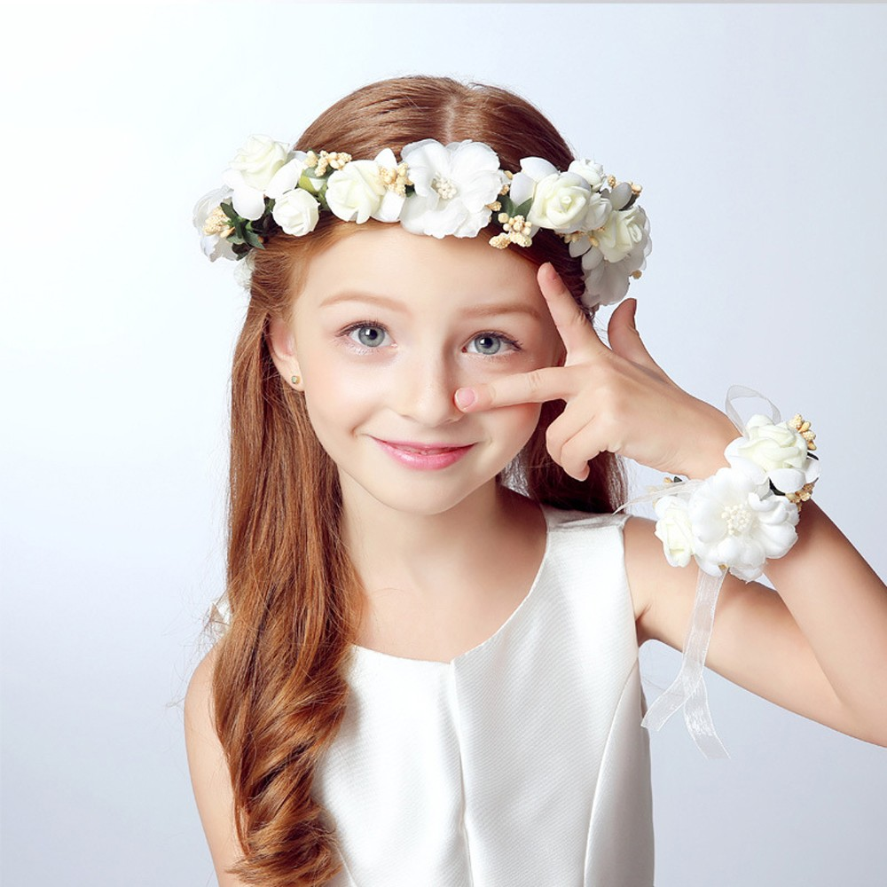1pc Wedding Bride Headdress Girl Lace Flowers Crown Garland Headband
