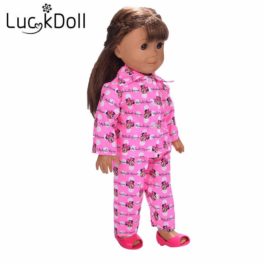 Pyjamas d'impression de dessin animé Mickey Mouse lucky doll pour poupées américaines de 18 pouces, meilleurs cadeaux de noël pour enfants