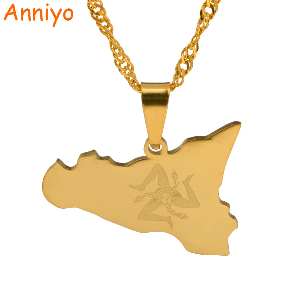 Anniyo Italy Sicily Map Pendant Necklaces,Silver Stainless Steel/Gold Color Italian Sicilia Jewelry Gifts #025121 anniyo qatar necklace and pendant for women girls silver color stainless steel gold color ethnic jewelry gifts 027621