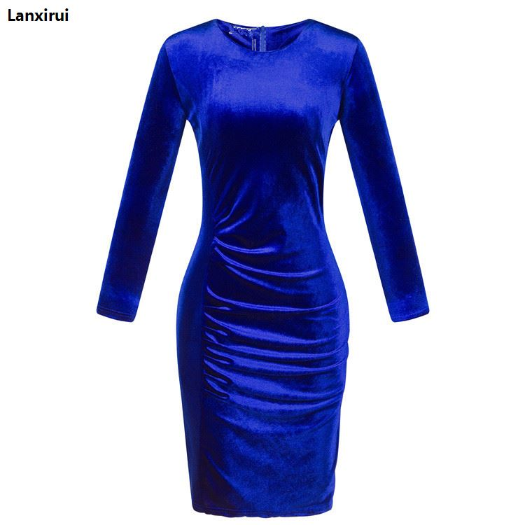 Woman Elegant Velvet Dress 2018 Spring New Female Sex Pencil Short Dresses Lady Fashion Party Slim Dress in Dresses from Women 39 s Clothing