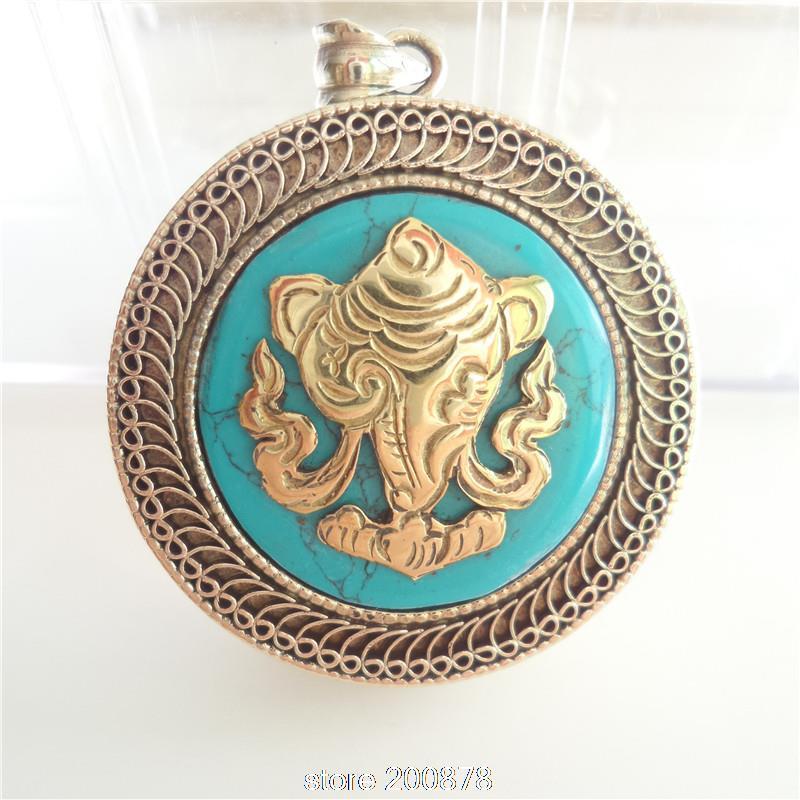 TGB018 Tibetan White Metal Copper Snail/Dahine Shankha Amulet prayer box 38mm Nepal Stone Ghau amulets pendant Tibet jewel