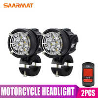 Double-Colors Universal LED Motorcycle Headlight 9000lm External MOTO DRL Accessories Fog bulb L6K led motorbike spotlight 12V