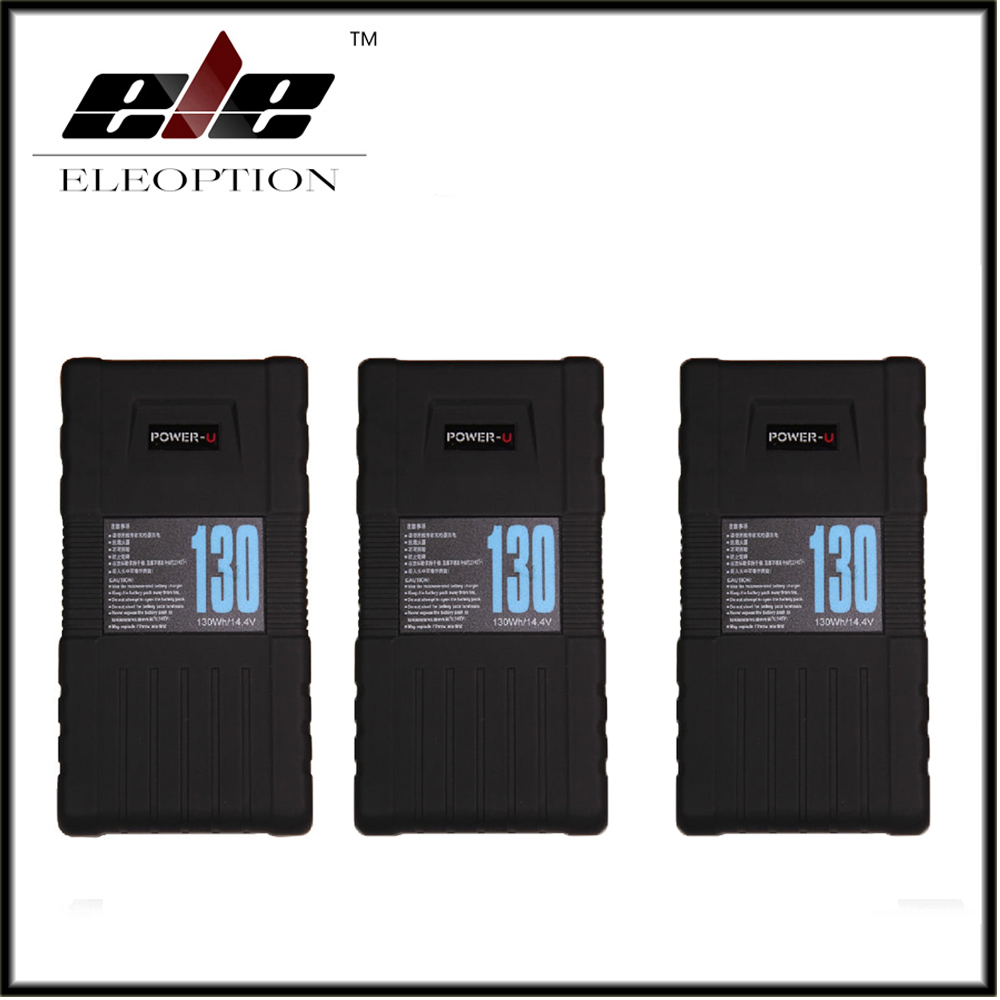 3x High Quality Eleoption BP-130S 130Wh POWER-U 14.4V 130W V-Mount Li-ion Battery For SONY 600p 650P high quality 3pcs bp 130s 130wh power u 14 8v 130w v mount li ion battery for sony 600p 650p