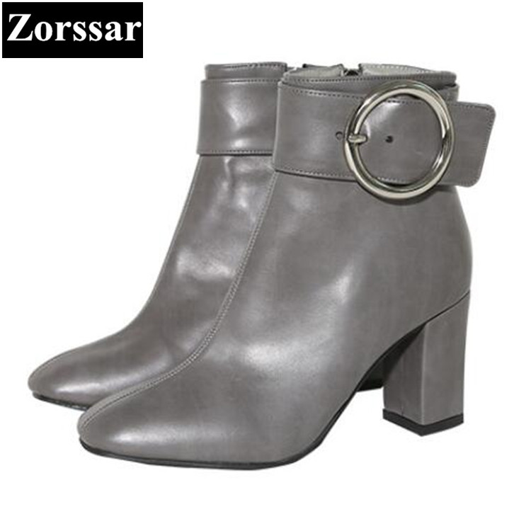 {Zorssar} 2018 NEW fashion buckle thick heel short boots Genuine leather High heels women ankle boots Round Toe women shoes zorssar brands 2018 new arrival fashion women shoes thick heel zipper ankle chelsea boots square toe high heels womens boots