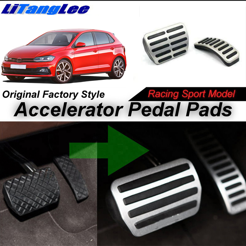 LitangLee Car Accelerator Pedal Pad Cover Sport Racing For Volkswagen VW Polo MK6 2018~Onwork AT Foot Throttle Pedal Cover litanglee car accelerator pedal pad cover racing sport for mini cooper clubman r55 f54 2007 onwork at foot throttle pedal cover