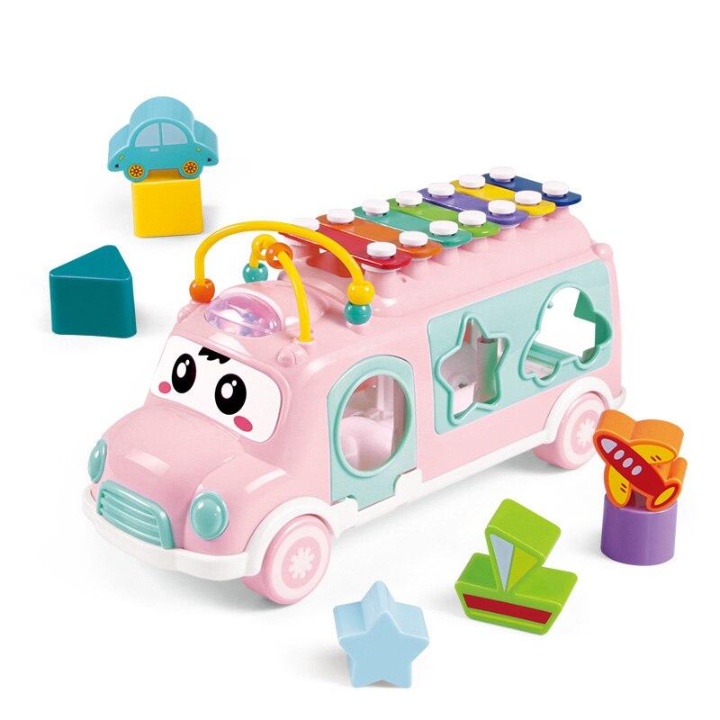 Huanger New Music Bus Sorting Nesting Stacking Toys Boy&Girl Lovely Beads Educational Baby Toys For Children