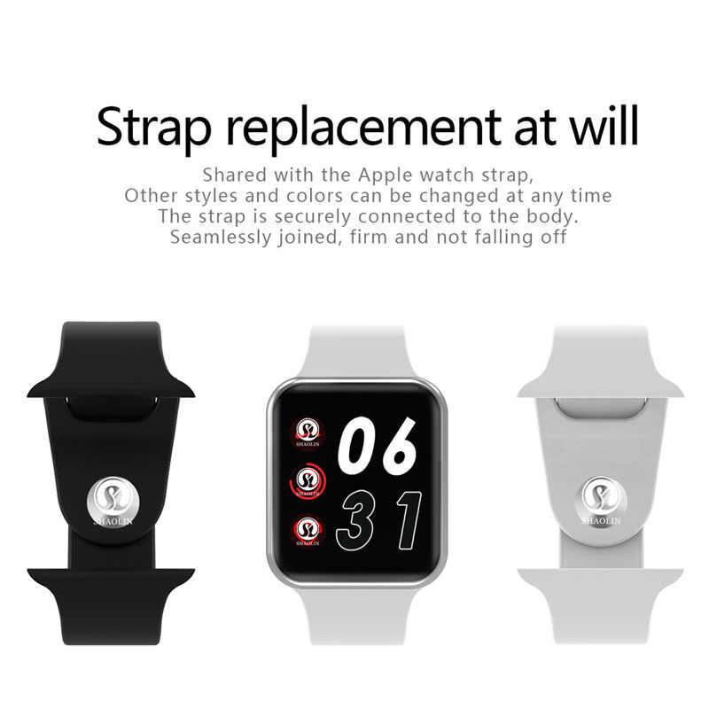 Bluetooth montre intelligente SmartWatch étui pour Apple iOS iPhone Xiaomi Android téléphone intelligent (bouton rouge)