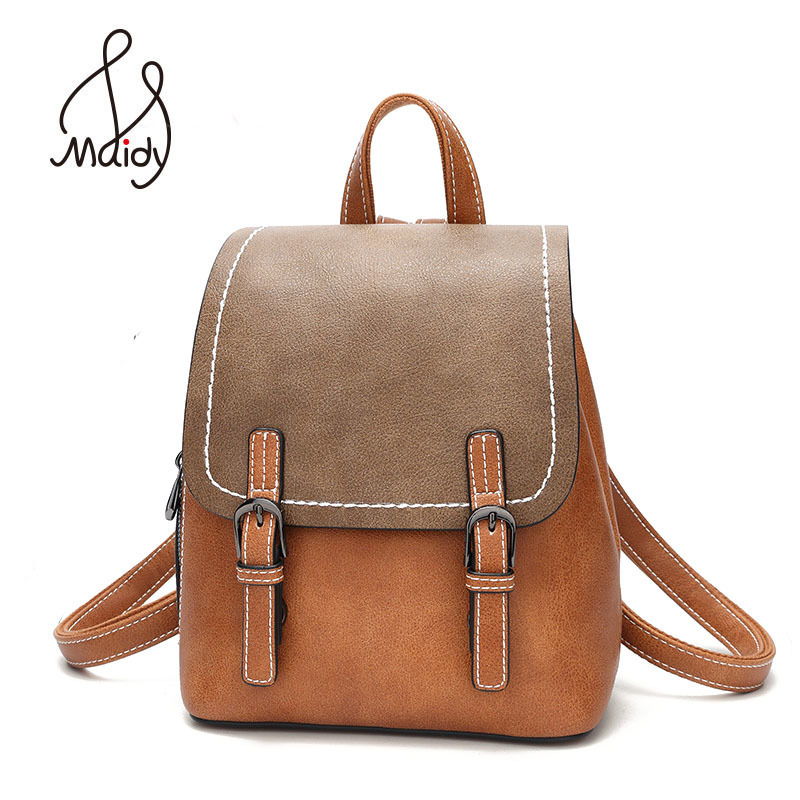 Madiy Female Ladies Lady Womens Girls Large Backpack Panelled Pu Leather Shoulder School Bags For Travel Hangbags High Quality