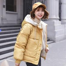 купить 2019 Winter Jacket Women Short Cotton Jacket New Padded Slim Hooded Warm Parkas Coat Female Autumn Outerwear дешево