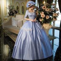 100% реальные Золушка синий винтажные длинные бальный наряд средневековой платье эпохи Возрождения платье королевы платье в викторианском с