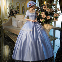 100%real cinderella blue vintage long ball gown medieval dress Renaissance Gown queen dress Victorian cosplay ball gown Belle