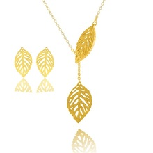 GORGEOUS TALE Ethnic Style Leaf Pendant Necklace & Drop Earrings Stainless Steel Jewelry Sets Fashion Women Party Jewelry Set indian jewelry set chic style ethnic shining bib choker necklaces earrings party wedding fashion jewelry sets