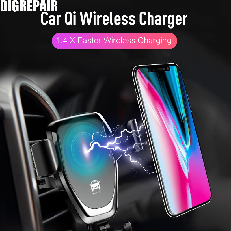 10 Вт Qi Беспроводной Зарядное устройство для IPhone X/XS Max XR 8 плюс быстрая Беспроводной зарядного устройства для samsung s8 S9 + Note9 8 Автомобильный держатель Зарядное устройство