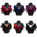 Bohemian Feather Tassel Stone Statement Necklace Fashion Women Big Choker Pendants Ribbon Jewelry